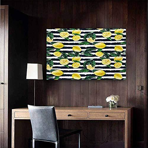 (duommhome Modern Living Room Decorative Painting Refreshing Lemons on Horizontal Striped Background Exotic Artwork Modern Minimalist Atmosphere 20