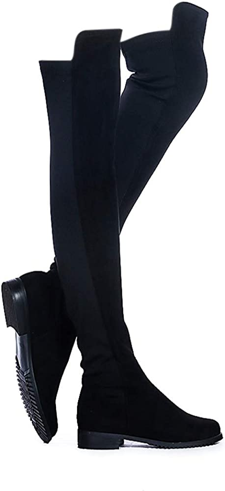 ShoeN Tale Women Faux Suede Low Flat Heel Stretch Over The Knee High Thigh high Snow Boots