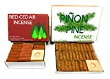 J & D's Everyday Needs Pinon and Cedar Incense Cone Bundle, 1 Box of Each, 82-pieces, with Holders