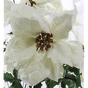 Admired By Nature GPB0707-RD/WT Faux Velvet Poinsettia Carnation Berry X'mas Bush, RD/WT 2