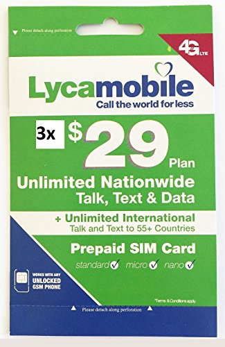 Lycamobile $29 Plan Prepaid Sim Cards Include 3 Month Free Service by Lycamobile