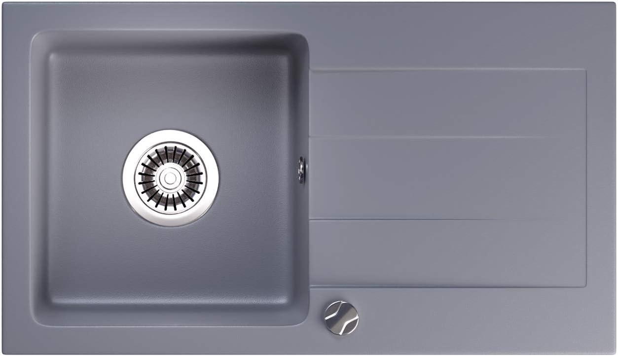 LINDBERGH/® Granit Sp/üleMEG 756 x 436 mm Siphon Einbausp/üle K/üchensp/üle Sp/ülbecken Grau Verbundstoffe MADE IN GERMANY kompl