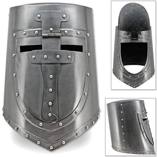 - Visored Great Helm 13th Century German Flat Top Plate Armor Helmet 18G Steel