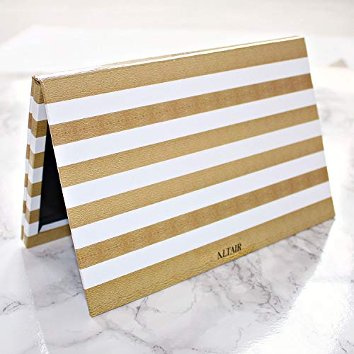 Large Empty Magnetic 28 Pan Makeup Palette for Depotting with 10 pcs Metal Stickers. Custom DIY Gold Stripe Depot Palette for Cosmetic Eyeshadows, Blush, Bronzer, Highlighter. (Vibe Bronzer)