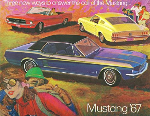FULL COLOR 1967 FORD MUSTANG DEALERS SALES BROCHURE -Includes Hardtops, Convertibles, 2+2 Fastback & GT