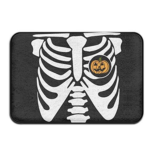 Pumpkin Halloween Skeleton Indoor Outdoor Entrance Rug Non Slip BathMats Doormat Rugs for Home -