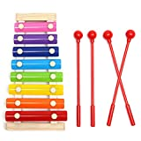 MOHOO Xylophone 8 Notes Musical Toys, Multi-Colored Bars for Toddler with 4 Child-Safe plastic percussion sticks Educational Percussion Instrument