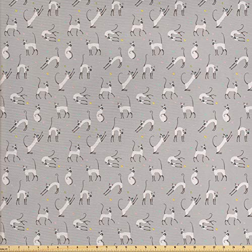 c by The Yard, Cute Siamese Cat on Wall Design Playing and Posing Feline Asian Kitty Animal Design, Decorative Fabric for Upholstery and Home Accents, 1 Yard, Pale Grey ()
