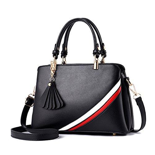 GUANGMING77 Meine Damen Handtasche_Winter Damen Handtasche Schultertasche Farbe black XAk9nwU10