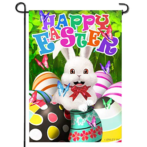 Anley |Double Sided| Premium Happy Easter Bunny Decorative Garden Flag, Happy Easter Egg Garden Flags - Weather Resistant & Double Stitched - 18 x 12.5 ()