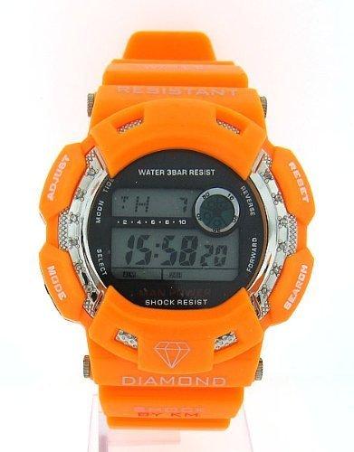 King Watch Diamond Master (Mens King Master Diamond Case & Shiny Orange Band Digital Diamond Watch)