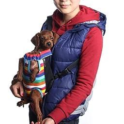 SODIAL(R)Bolsa Bolso Mochila Frontal Rayas para Perro Mascota Animales Talla XL