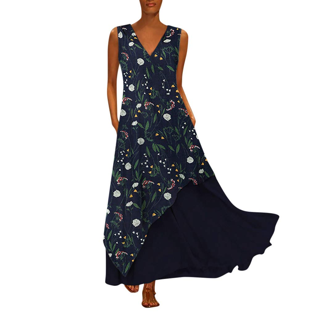 Women V Neck Sleeveless Long Dresses Vintage Boho Swing Summer Beach Irregular Maxi Dress Navy by YUEZIHUAHUA Women Dress