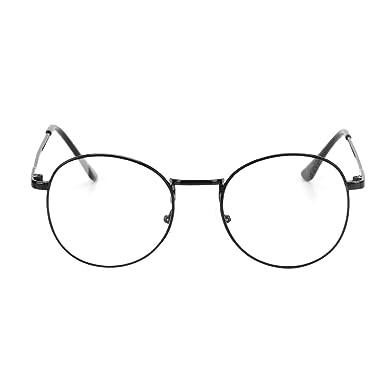9e8eb319ce Women Men Retro Non prescription Glasses Metal Frame Round Eyeglasses With Clear  Lenses Vintage Optical Eyewear Ultralight Spectacles Nerd Geek Glasses ...