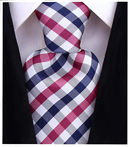 (Gingham Plaid Ties for Men - Woven Necktie - Purple and Navy Blue)