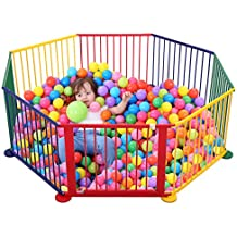 JAXPETY Baby Playpen Kids Safety Play Center Yard Home Indoor Outdoor New Pen (8, multicolour)