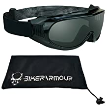 Motorcycle Goggles Fit Over Rx Prescription Glasses with Polycarbonate Safety Smoke Lenses, Free Large Microfiber Cleaning Case -Thunder SMK