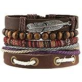 HZMAN Mix 4 Wrap Bracelets Men Women Hemp Cords Wood Beads Ethnic Tribal Bracelets, Leather Wristbands