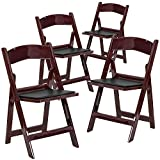 Flash Furniture 4 Pk. HERCULES Series 1000 lb. Capacity Red Mahogany Resin Folding Chair with Black Vinyl Padded Seat Review