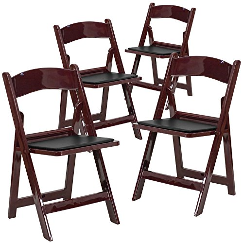 Flash Furniture 4 Pk. HERCULES Series 1000 lb. Capacity Red Mahogany Resin Folding Chair with Black Vinyl Padded Seat by Flash Furniture