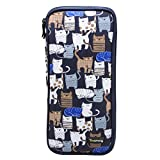 """Teamoy Tunisian Crochet Hook Case(up to 11"""" long), Travel Organizer Bag for Afghan Crochet Hooks, Ergonomic Crochet Hooks, Knitting Needles and Accessories, Well Made, Large Capacity, Cats Blue"""
