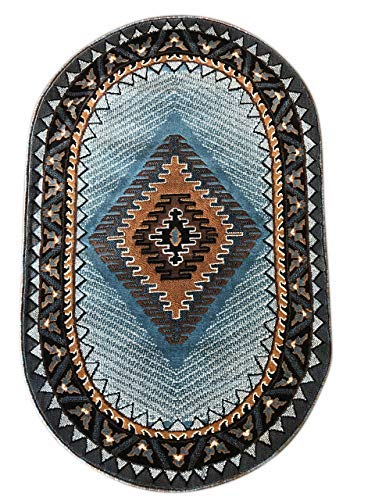 Kingdom Southwest Native American Oval Area Rug Blue Brown Design D143 (3 Feet X 4 Feet 7 Inch)