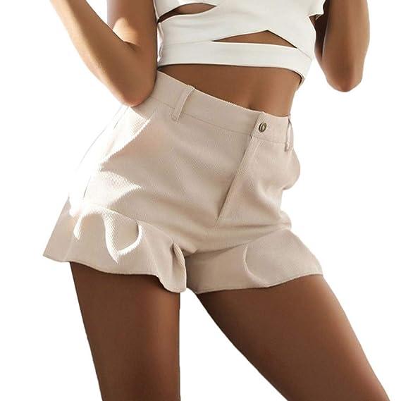 Duseedik Women's Summer Shorts Casual Solid Shorts Pants Hem Trousers Ladies Loose Beach Home Hot Pants by Duseedik