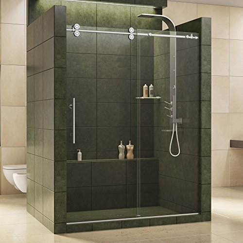 DreamLine Enigma 56-60 in. W x 79 in. H Fully Frameless Sliding Shower Door in Polished Stainless Steel, 1/2 in. Glass, SHDR-60607912-08