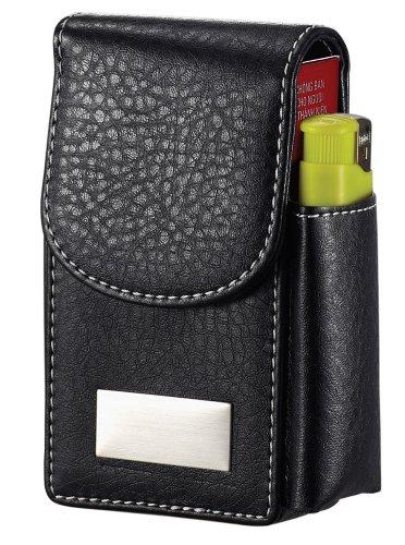 Visol Crow Black Leatherette 100's Size Cigarette Case