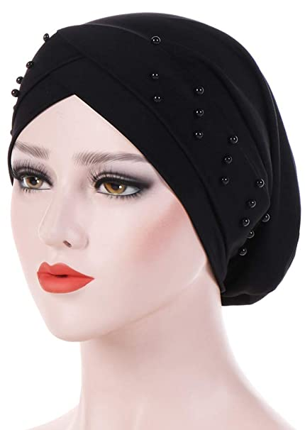 c5c21dedf94 Ababalaya Women s Soft Breathable Beads Chemo Cancer Beanie Hair Loss Turban  Head Cover