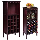 New Wood Wine Cabinet Bottle Holder Storage w/ Glass Rack Kitchen Home Bar