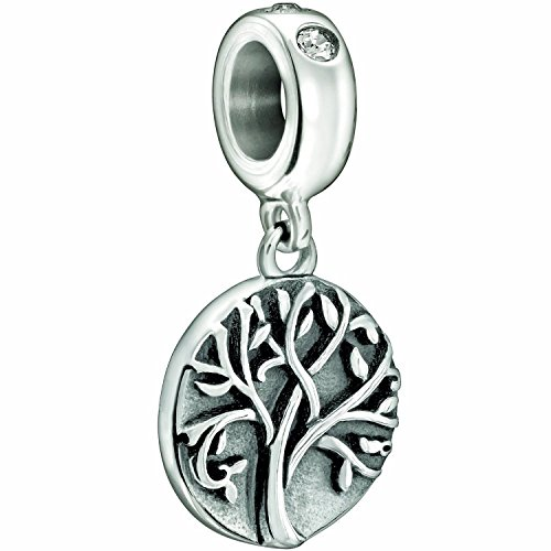 Sterling Silver Family Tree of Life Bead Charm Fits Pandora Bracelet Charms (Halloween College Stories)