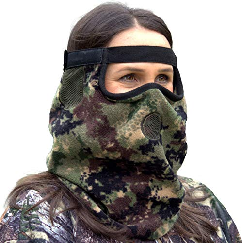 DOWN UNDER OUTDOORS Premium Camo Hunting Face Mask in Heavyweight Fleece for Winter and Cold Weather, Adjustable Size for Men, Women and Kids (Digital Camo Winter Hat)