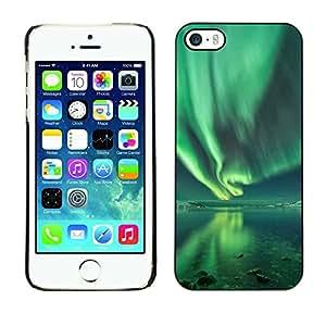 Cubierta de la caja de protección la piel dura para el Apple iPhone 5 / 5S - aurora borealis water reflection green