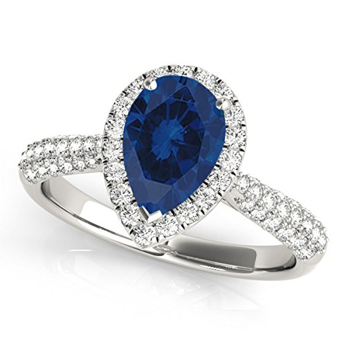 1 Ct. Ttw Diamond And Pear Shaped Sapphire Ring In 10K White Gold