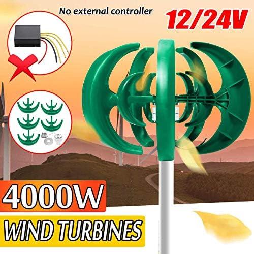 SISHUINIANHUA 4000W 12V 24V Vertikale Windkraftanlagen Generator Laterne 10 Blades Motor Kit Windmühle Energielade Turbinen für Home Camping,Grün,12v