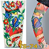 1Pc Unisex Nylon Elastic Temporary Tattoo Sleeve Body Arm Stockings UV Protection Tattoo Arm Sleeves for Men Tattoo Sleeves Cover up Stretchable Cosplay Costume Accessories for Men & Women (A)
