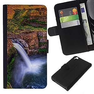 KLONGSHOP // Tirón de la caja Cartera de cuero con ranuras para tarjetas - Cascada África Sunset - HTC Desire 820 //