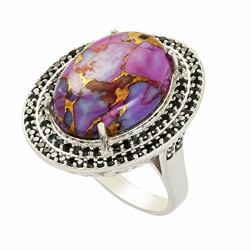 - Shine Jewel 92.5 sterling silver oval purple turquoise arround black spinel ring