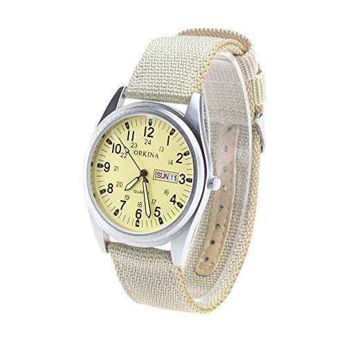 KTC Matt Silver Case Quartz Date Display Beige Color Nylon Fabric Strap Outdoor Casual Wrist Watch