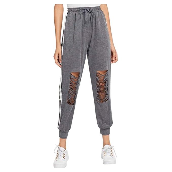Pantalones Deportivos Mujeres, Pantalones Yoga Rotos Leggins Fitness Entrenamientos Pantalones Casuales Pantalones de Deportes Transpirables para ...