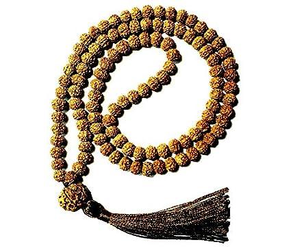 Yoga and Meditation 108 Beads Rudraksha mala. Combination of 8 mm Bead from Bali,12 mm Guru Bead from Nepal, Tassel from Tibet. Great for Mind, Body ...