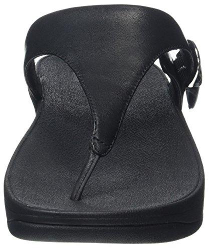 Les Femmes Fitflop Orteil-string Maigre Sandales En Cuir Noir Peeptoe (noir)