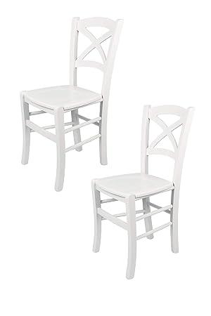 Tommychairs sillas de Design - Set de 2 sillas Modelo Cross de Cocina, Comedor, Bar y Restaurante, con Estructura en Madera barnizada Color Blanco y ...