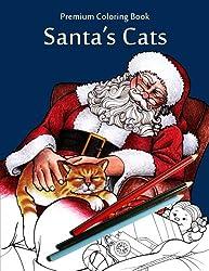 Santa's Cats: Christmas Adult Coloring Book