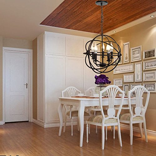 Black Globe Pendant Light - 5