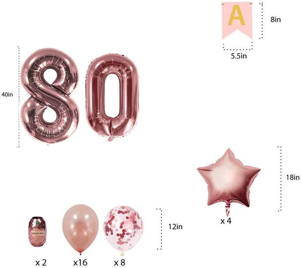 CASTELBELBO Felt 80th Birthday Confetti Balloons Banner Rose Gold Decorations for Women 80 Large Number Years Old Happy Birthday Party Outdoor