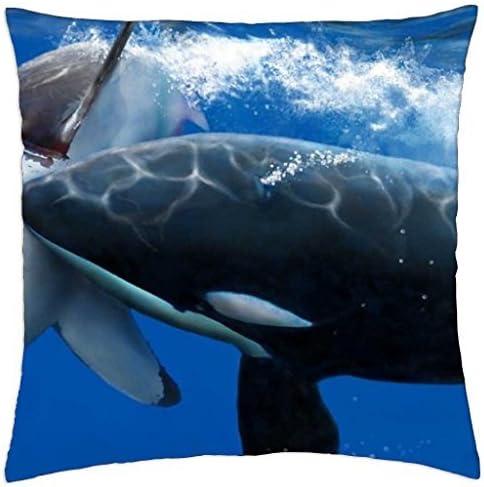 vs killer whale Throw Pillow Cover