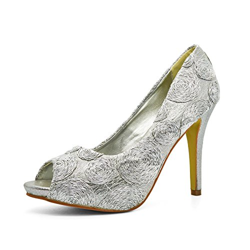 London Footwear ,  Damen Peep Toes Silber