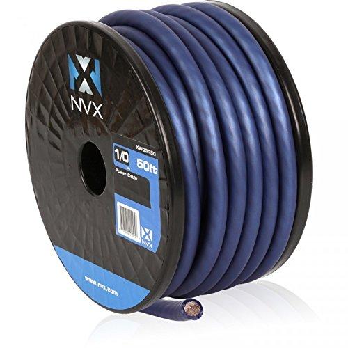 NVX 50 ft. Roll of Metallic Powder Blue EnvyFlex True Spec 1/0-Gauge Power/Ground Wire Cable [XW0BL50] by NVX